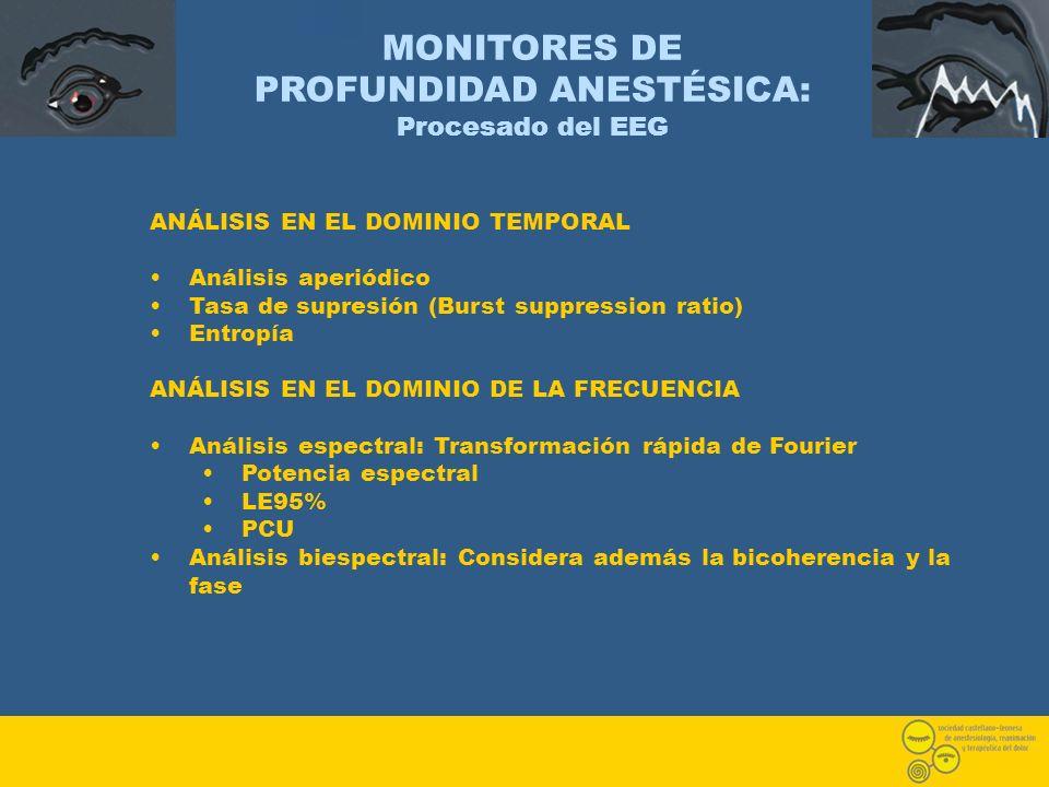 MONITORES DE PROFUNDIDAD ANESTÉSICA: Procesado del EEG ANÁLISIS EN EL DOMINIO TEMPORAL Análisis aperiódico Tasa de supresión (Burst suppression ratio)