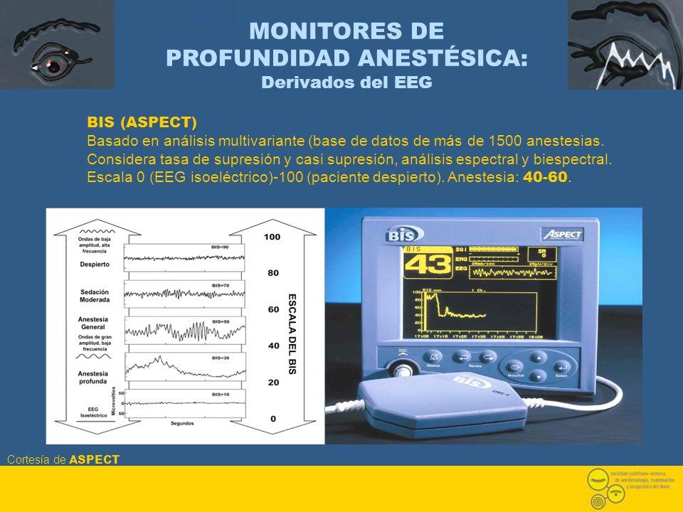 MONITORES DE PROFUNDIDAD ANESTÉSICA: Derivados del EEG BIS (ASPECT) Basado en análisis multivariante (base de datos de más de 1500 anestesias. Conside