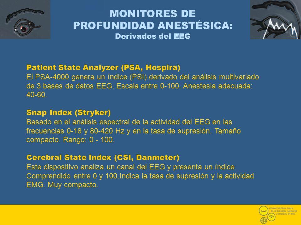 MONITORES DE PROFUNDIDAD ANESTÉSICA: Derivados del EEG Patient State Analyzer (PSA, Hospira) El PSA-4000 genera un índice (PSI) derivado del análisis