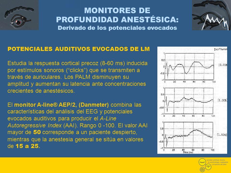 POTENCIALES AUDITIVOS EVOCADOS DE LM Estudia la respuesta cortical precoz (8-60 ms) inducida por estímulos sonoros (clicks) que se transmiten a través
