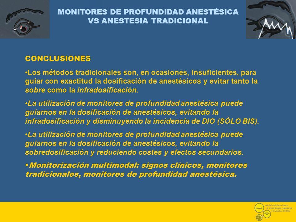MONITORES DE PROFUNDIDAD ANESTÉSICA VS ANESTESIA TRADICIONAL CONCLUSIONES Los métodos tradicionales son, en ocasiones, insuficientes, para guiar con e