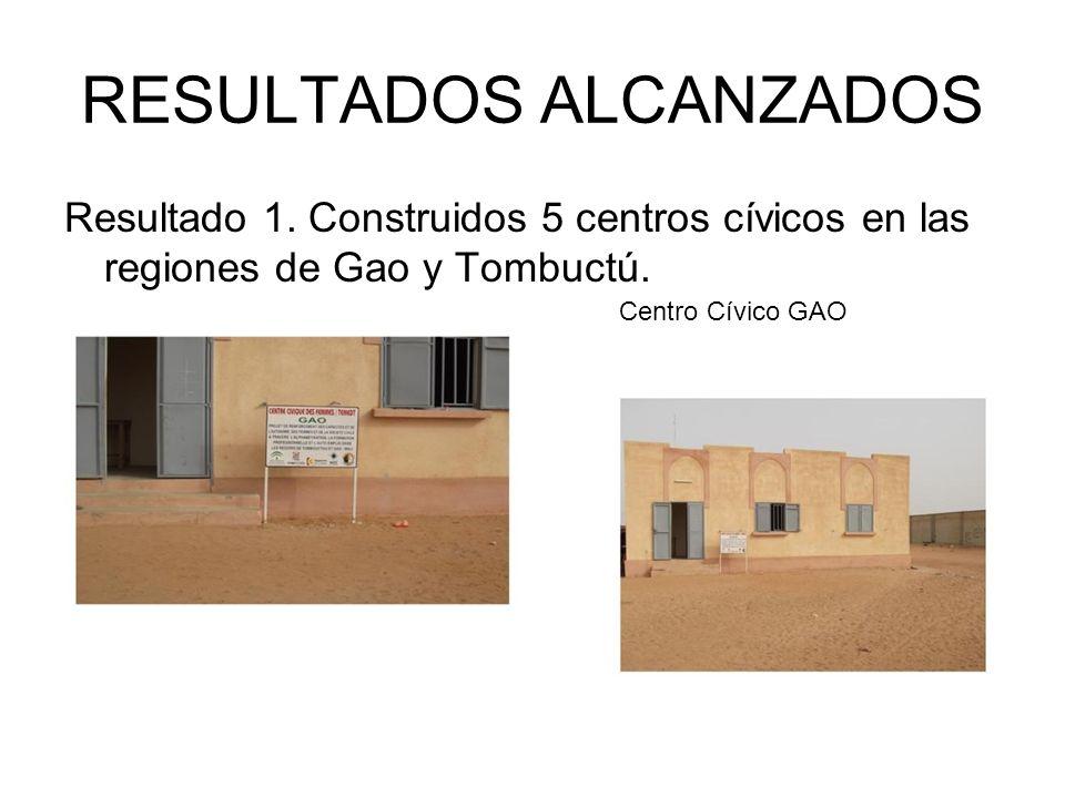 RESULTADOS ALCANZADOS Resultado 1. Construidos 5 centros cívicos en las regiones de Gao y Tombuctú.