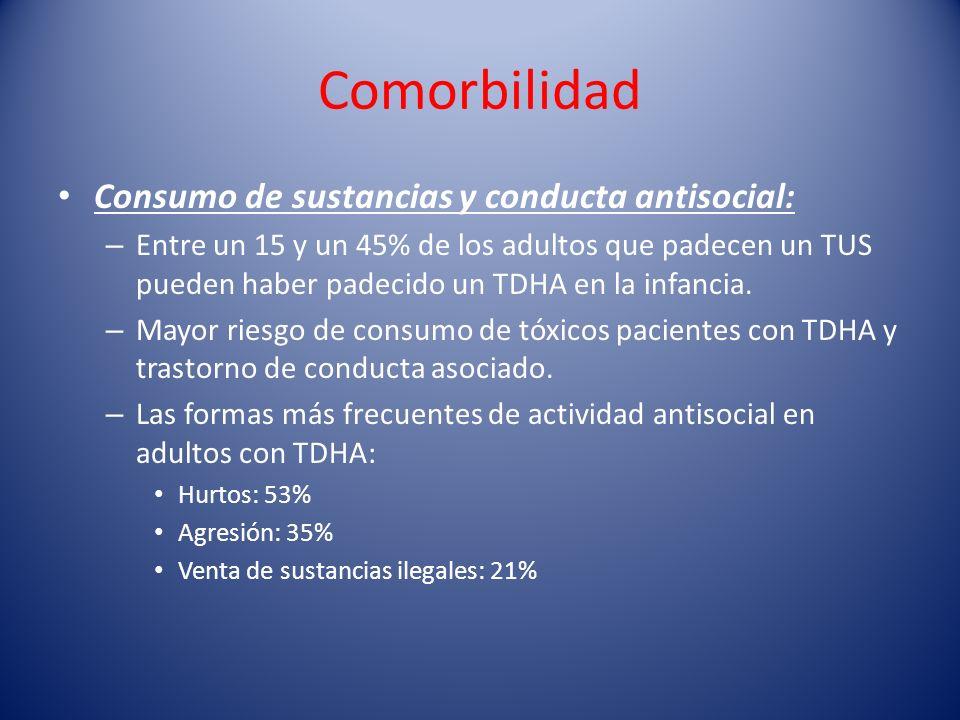 Comorbilidad Consumo de sustancias y conducta antisocial: – Entre un 15 y un 45% de los adultos que padecen un TUS pueden haber padecido un TDHA en la