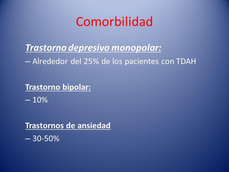Comorbilidad Trastorno depresivo monopolar: – Alrededor del 25% de los pacientes con TDAH Trastorno bipolar: – 10% Trastornos de ansiedad – 30-50%