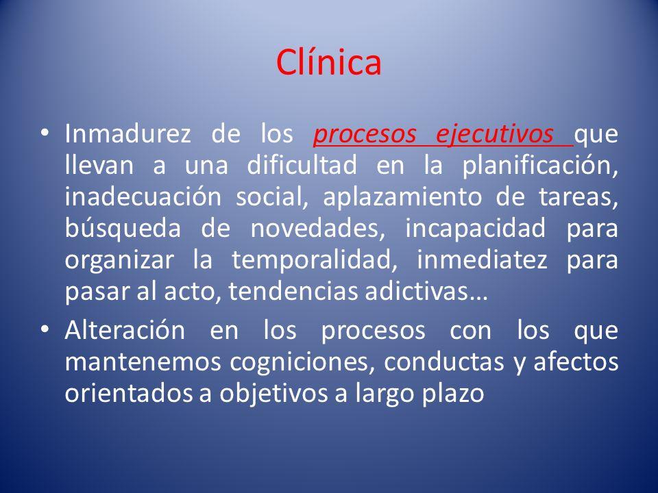 Clínica Inmadurez de los procesos ejecutivos que llevan a una dificultad en la planificación, inadecuación social, aplazamiento de tareas, búsqueda de