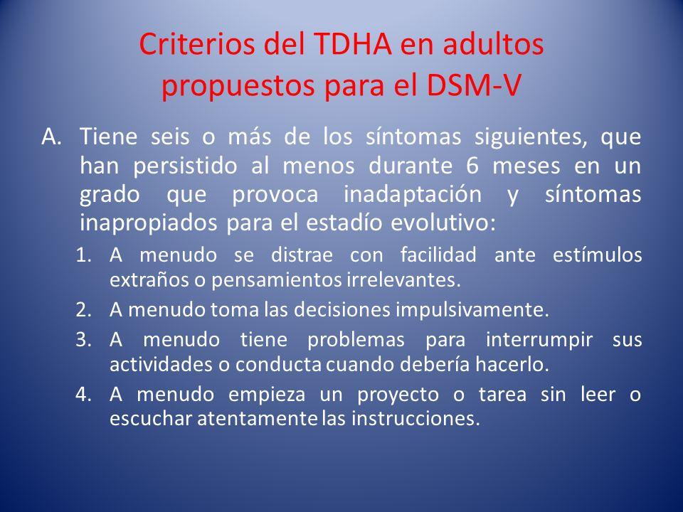 Criterios del TDHA en adultos propuestos para el DSM-V A.Tiene seis o más de los síntomas siguientes, que han persistido al menos durante 6 meses en u