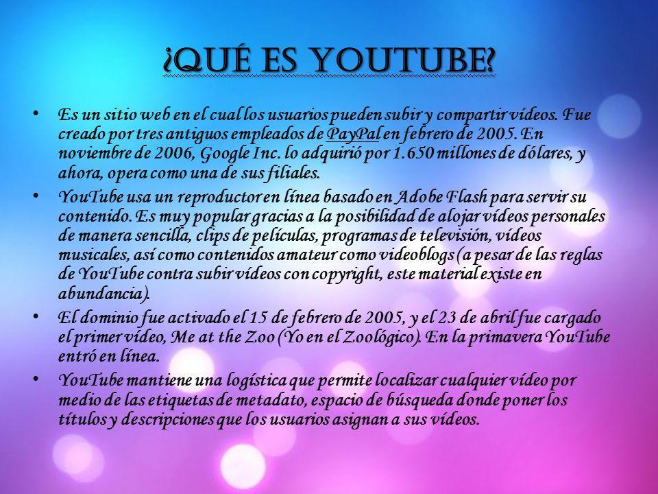 ¿Qué es youtube. Es un sitio web en el cual los usuarios pueden subir y compartir vídeos.