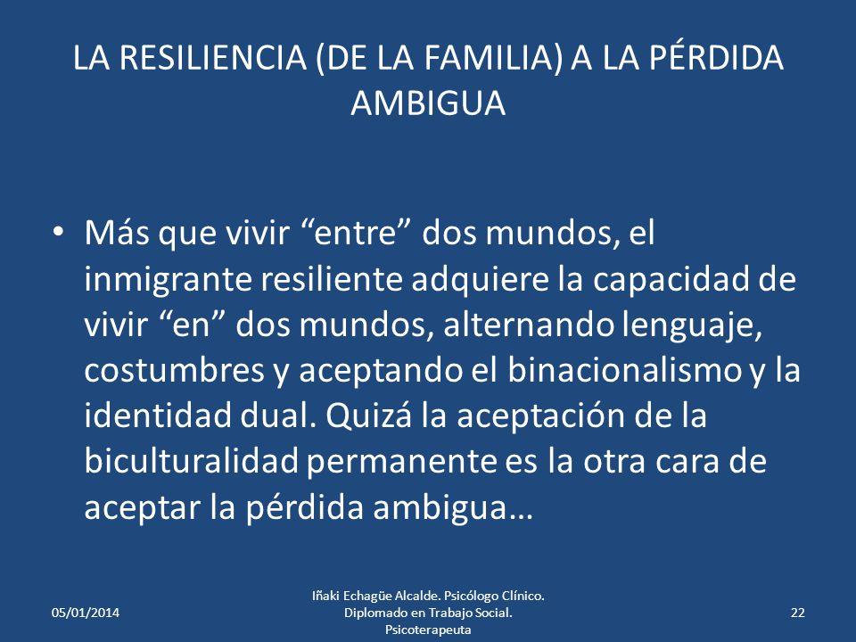 LA RESILIENCIA (DE LA FAMILIA) A LA PÉRDIDA AMBIGUA Rituales = Sentido de coherencia* es una búsqueda de coherencia narrativa o de dar sentido a la hi