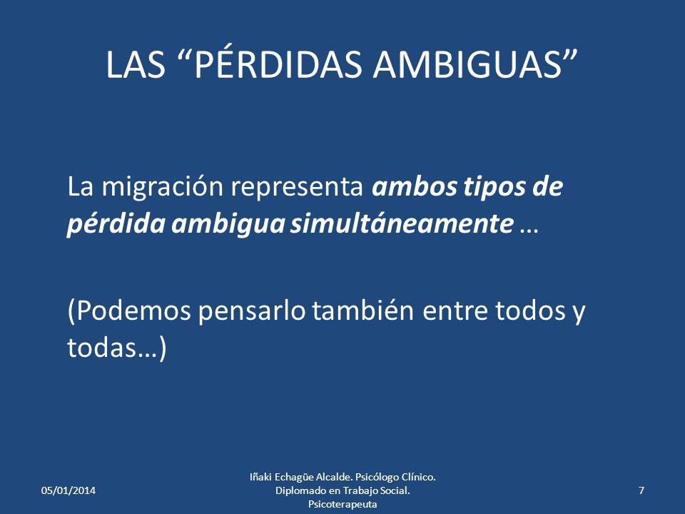 LAS PÉRDIDAS AMBIGUAS La migración representa ambos tipos de pérdida ambigua simultáneamente … (Podemos pensarlo también entre todos y todas…) 05/01/20147 Iñaki Echagüe Alcalde.