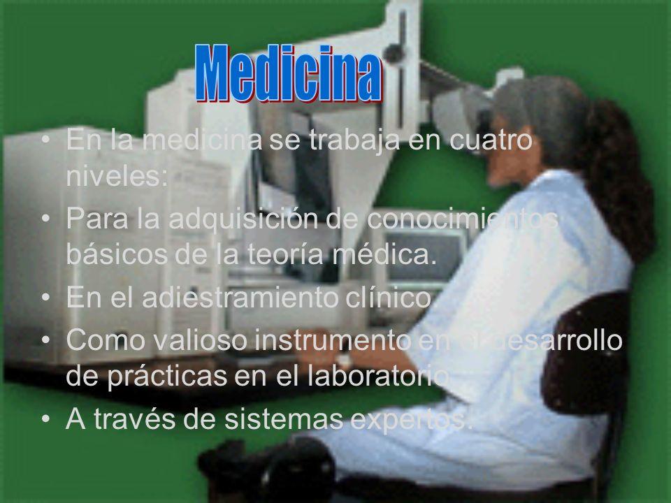 En la medicina se trabaja en cuatro niveles: Para la adquisición de conocimientos básicos de la teoría médica. En el adiestramiento clínico. Como vali