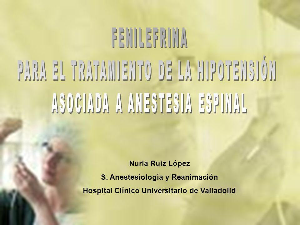 Nuria Ruiz López S. Anestesiología y Reanimación Hospital Clínico Universitario de Valladolid