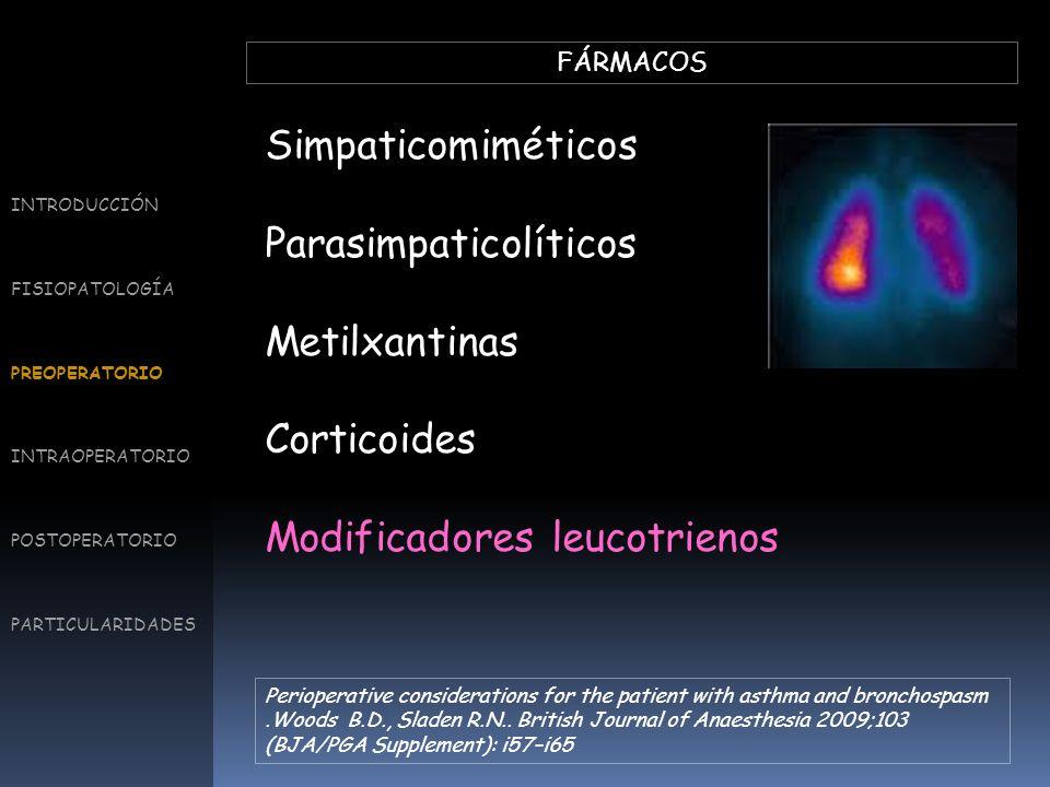 FÁRMACOS Simpaticomiméticos Parasimpaticolíticos Metilxantinas Corticoides Modificadores leucotrienos INTRODUCCIÓN FISIOPATOLOGÍA PREOPERATORIO INTRAO