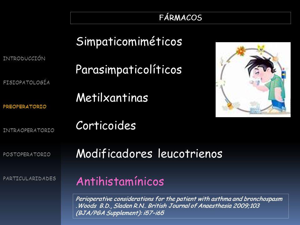 FÁRMACOS Simpaticomiméticos Parasimpaticolíticos Metilxantinas Corticoides Modificadores leucotrienos Antihistamínicos INTRODUCCIÓN FISIOPATOLOGÍA PRE