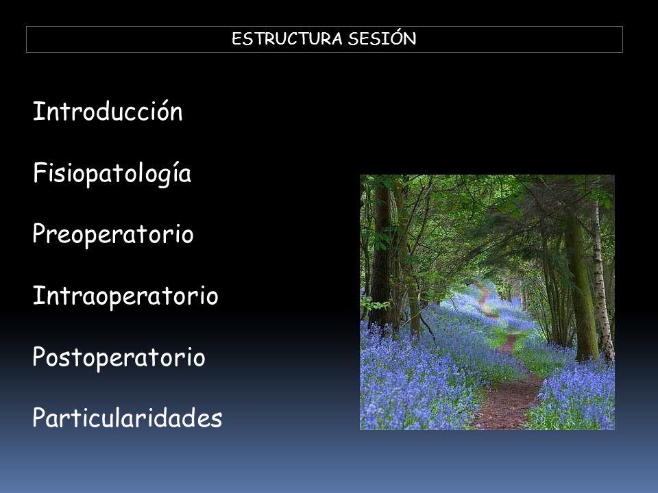 ESTRUCTURA SESIÓN Introducción Fisiopatología Preoperatorio Intraoperatorio Postoperatorio Particularidades