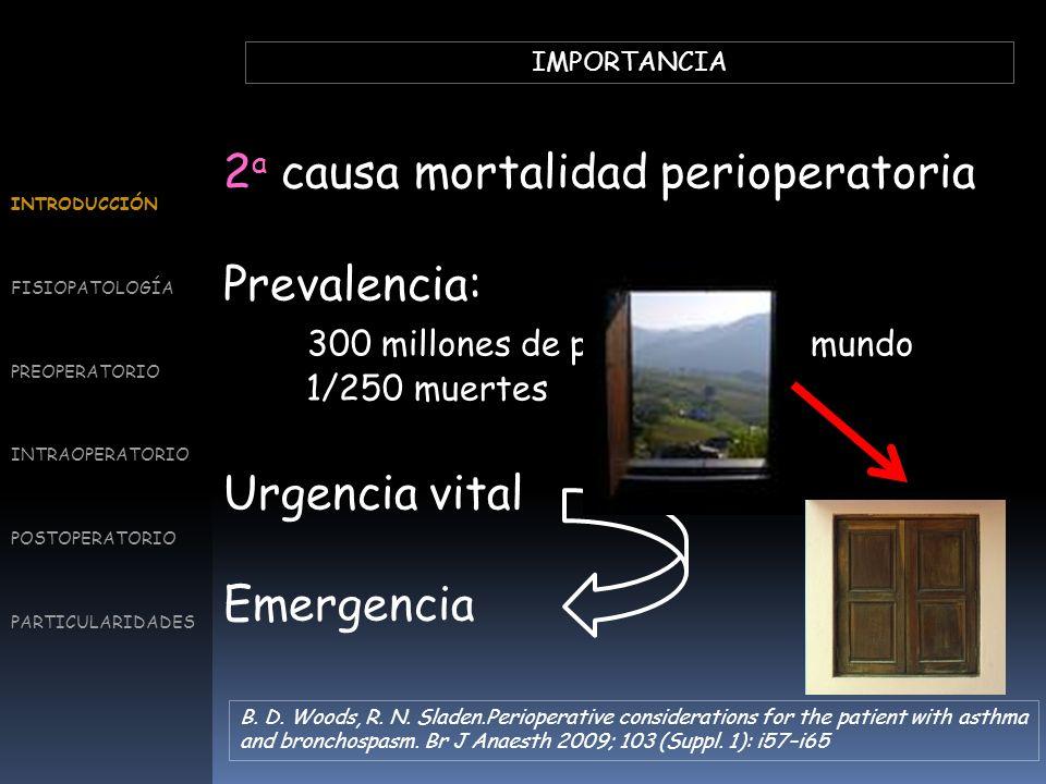IMPORTANCIA 2 a causa mortalidad perioperatoria Prevalencia: 300 millones de personas en el mundo 1/250 muertes Urgencia vital Emergencia INTRODUCCIÓN