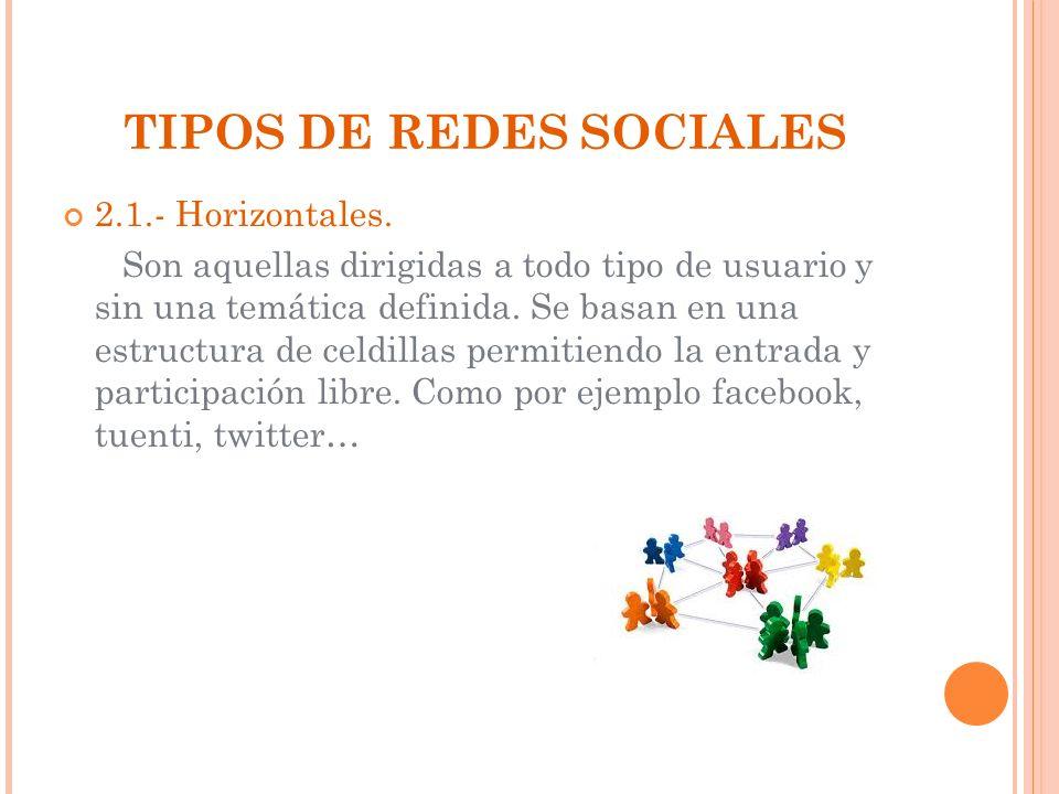 TIPOS DE REDES SOCIALES 2.1.- Horizontales. Son aquellas dirigidas a todo tipo de usuario y sin una temática definida. Se basan en una estructura de c