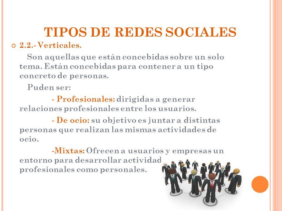 TIPOS DE REDES SOCIALES 2.2.- Verticales. Son aquellas que están concebidas sobre un solo tema. Están concebidas para contener a un tipo concreto de p