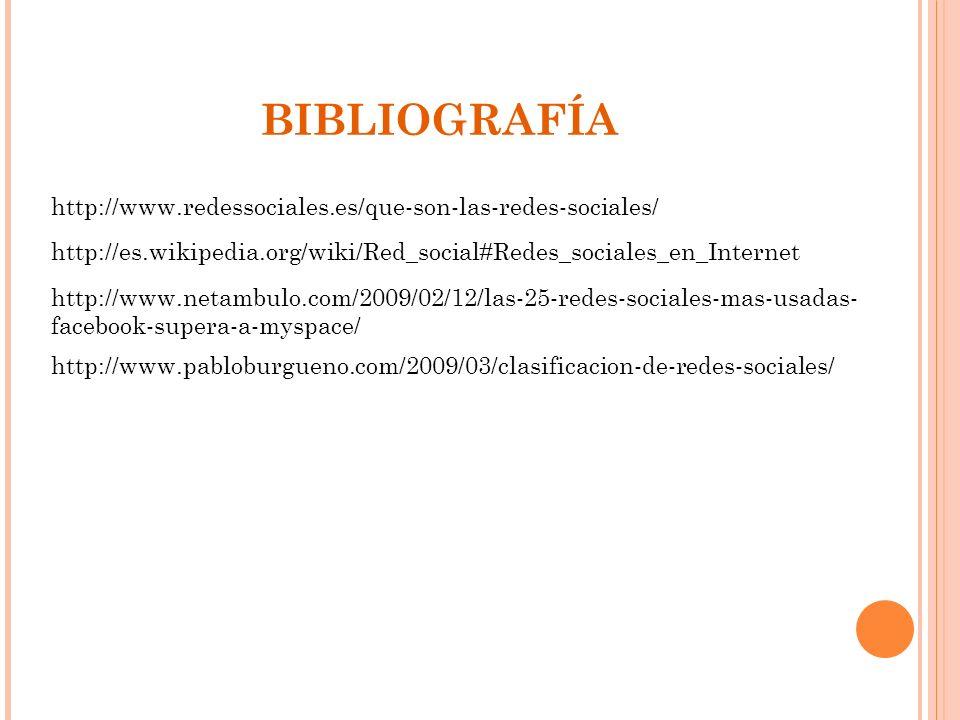 http://www.redessociales.es/que-son-las-redes-sociales/ BIBLIOGRAFÍA http://es.wikipedia.org/wiki/Red_social#Redes_sociales_en_Internet http://www.net