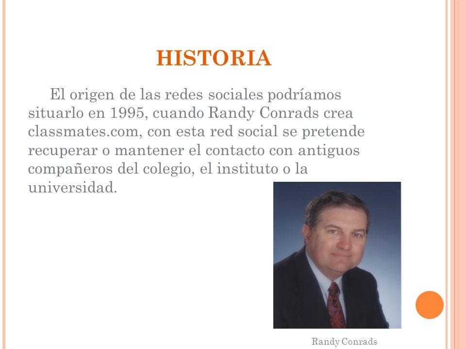 HISTORIA El origen de las redes sociales podríamos situarlo en 1995, cuando Randy Conrads crea classmates.com, con esta red social se pretende recuper