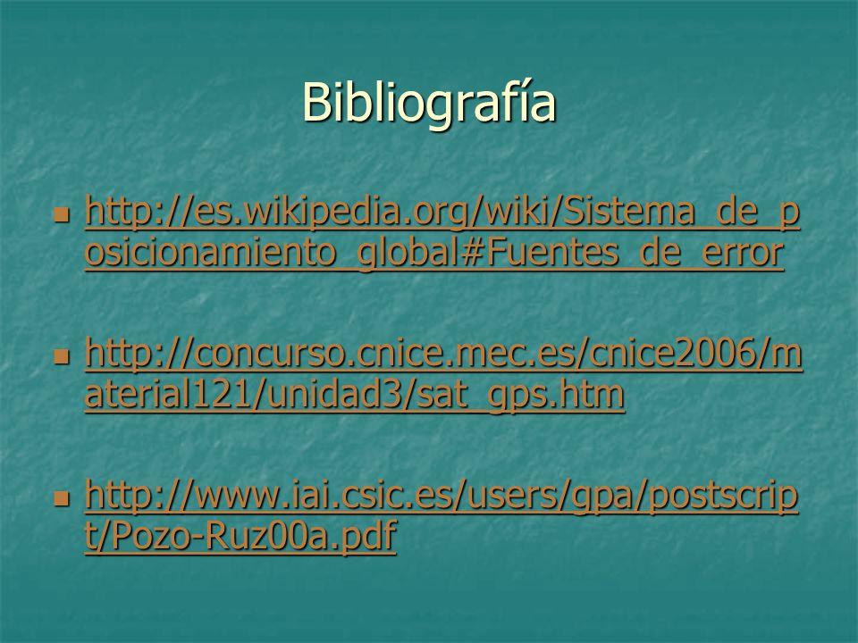 Bibliografía http://es.wikipedia.org/wiki/Sistema_de_p osicionamiento_global#Fuentes_de_error http://es.wikipedia.org/wiki/Sistema_de_p osicionamiento
