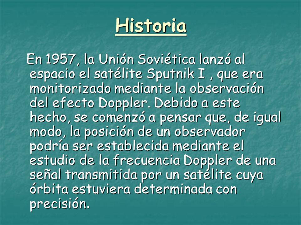 Historia En 1957, la Unión Soviética lanzó al espacio el satélite Sputnik I, que era monitorizado mediante la observación del efecto Doppler. Debido a