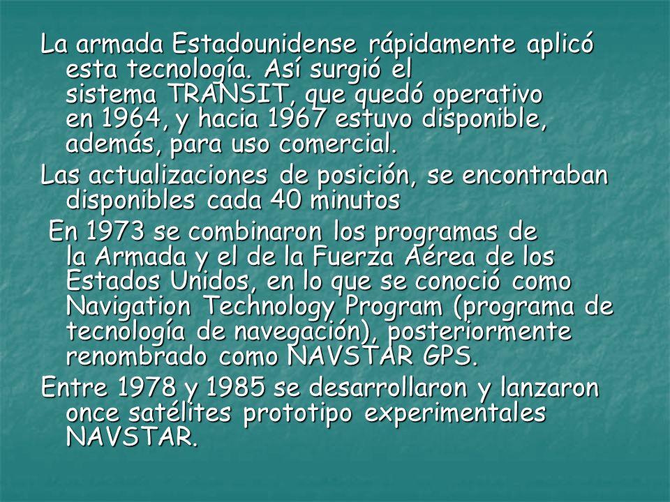 La armada Estadounidense rápidamente aplicó esta tecnología. Así surgió el sistema TRANSIT, que quedó operativo en 1964, y hacia 1967 estuvo disponibl