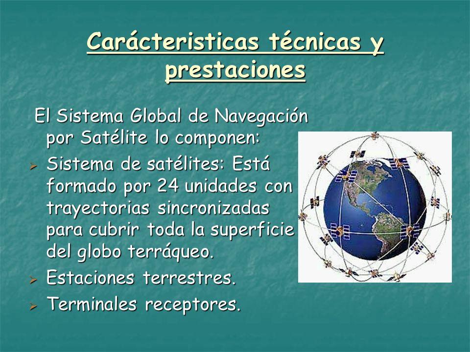 Carácteristicas técnicas y prestaciones El Sistema Global de Navegación por Satélite lo componen: El Sistema Global de Navegación por Satélite lo comp