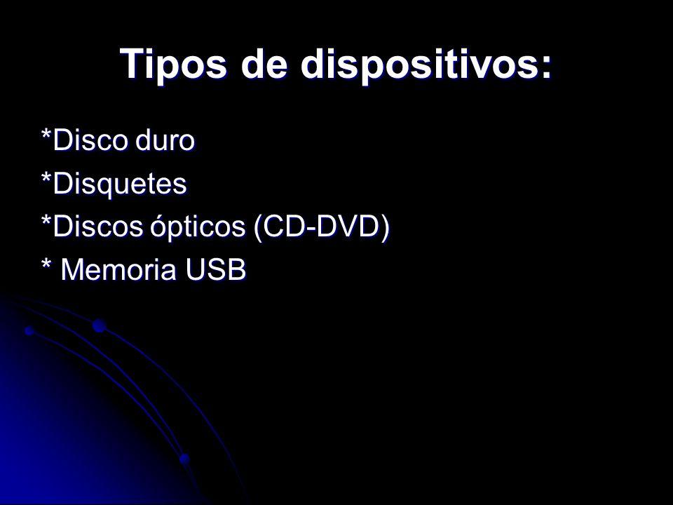 Tipos de dispositivos: *Disco duro *Disquetes *Discos ópticos (CD-DVD) * Memoria USB