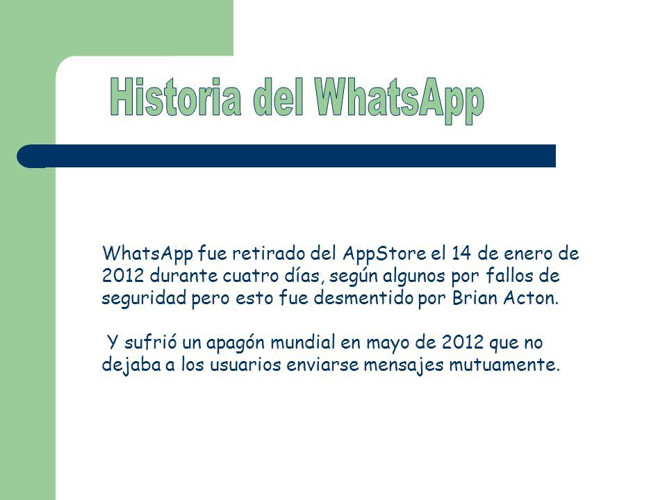 WhatsApp fue retirado del AppStore el 14 de enero de 2012 durante cuatro días, según algunos por fallos de seguridad pero esto fue desmentido por Bria