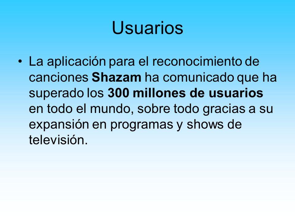 Usuarios La aplicación para el reconocimiento de canciones Shazam ha comunicado que ha superado los 300 millones de usuarios en todo el mundo, sobre t