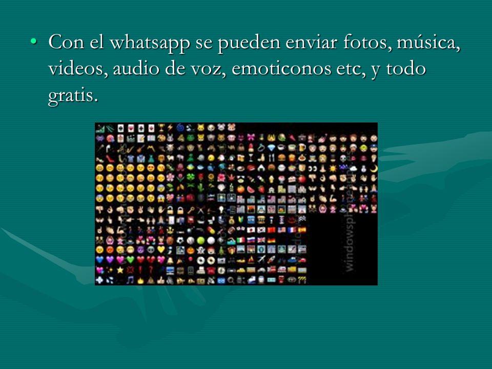 Con el whatsapp se pueden enviar fotos, música, videos, audio de voz, emoticonos etc, y todo gratis.Con el whatsapp se pueden enviar fotos, música, videos, audio de voz, emoticonos etc, y todo gratis.