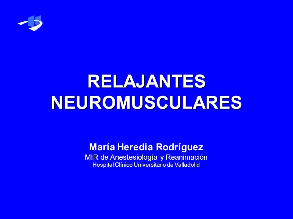 RELAJANTES NEUROMUSCULARES María Heredia Rodríguez MIR de Anestesiología y Reanimación Hospital Clínico Universitario de Valladolid