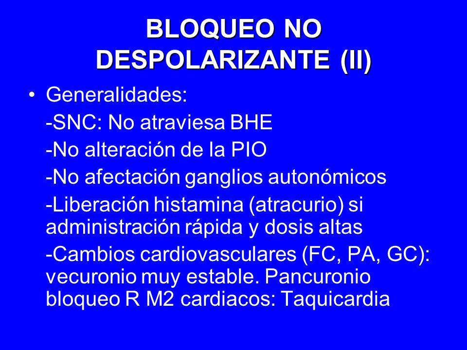 BLOQUEO NO DESPOLARIZANTE (II) Generalidades: -SNC: No atraviesa BHE -No alteración de la PIO -No afectación ganglios autonómicos -Liberación histamin