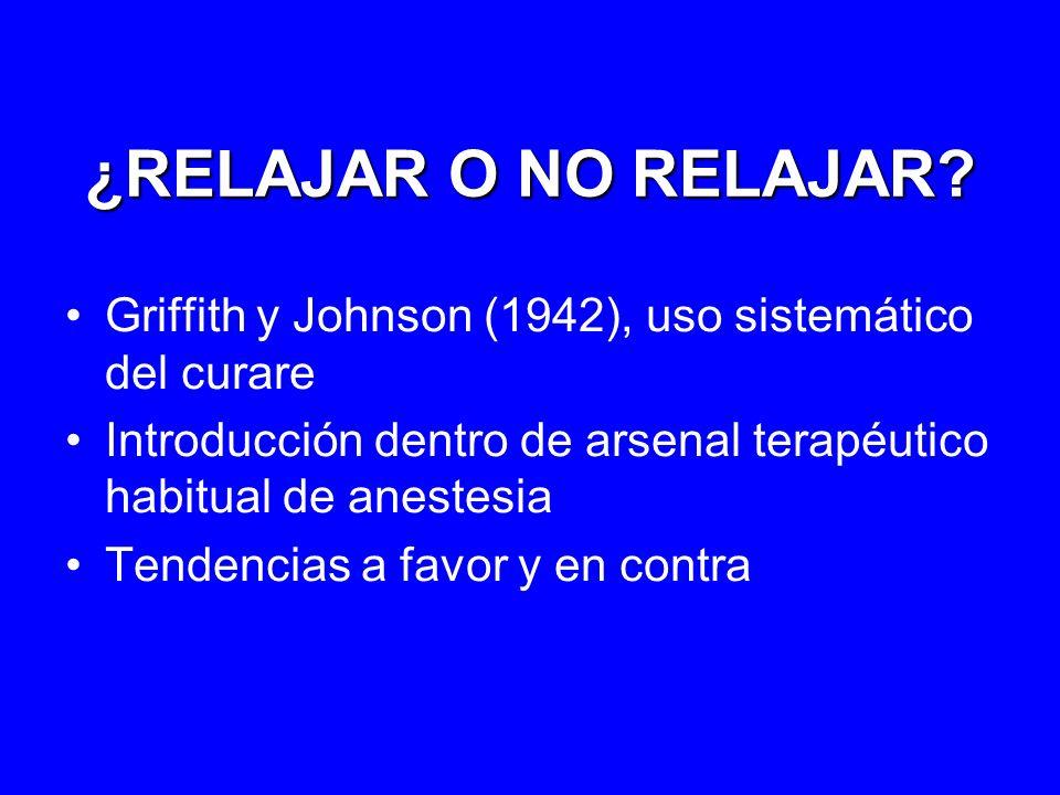 ¿RELAJAR O NO RELAJAR? Griffith y Johnson (1942), uso sistemático del curare Introducción dentro de arsenal terapéutico habitual de anestesia Tendenci