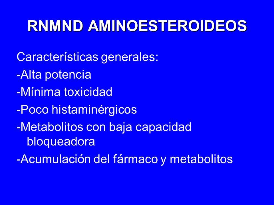 RNMND AMINOESTEROIDEOS Características generales: -Alta potencia -Mínima toxicidad -Poco histaminérgicos -Metabolitos con baja capacidad bloqueadora -