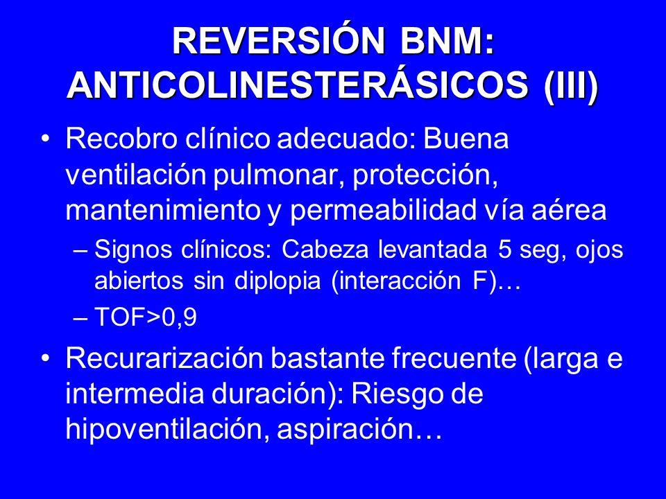REVERSIÓN BNM: ANTICOLINESTERÁSICOS (III) Recobro clínico adecuado: Buena ventilación pulmonar, protección, mantenimiento y permeabilidad vía aérea –S