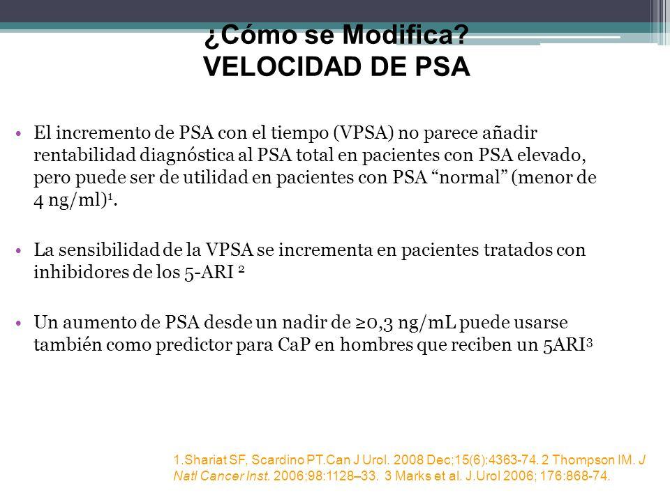 ¿Cómo se Modifica? VELOCIDAD DE PSA El incremento de PSA con el tiempo (VPSA) no parece añadir rentabilidad diagnóstica al PSA total en pacientes con