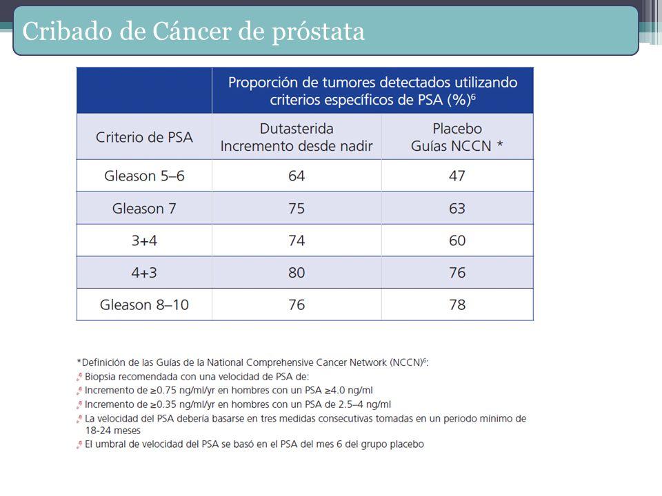 Cribado de Cáncer de próstata Marberger M, et al. Usefulness of prostate-specific antigen (PSA) rise as a marker of prostate cancer kin men treated wi