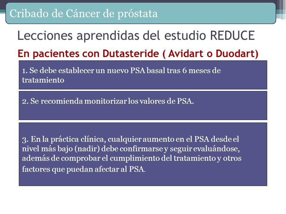 Lecciones aprendidas del estudio REDUCE En pacientes con Dutasteride ( Avidart o Duodart) 1. Se debe establecer un nuevo PSA basal tras 6 meses de tra