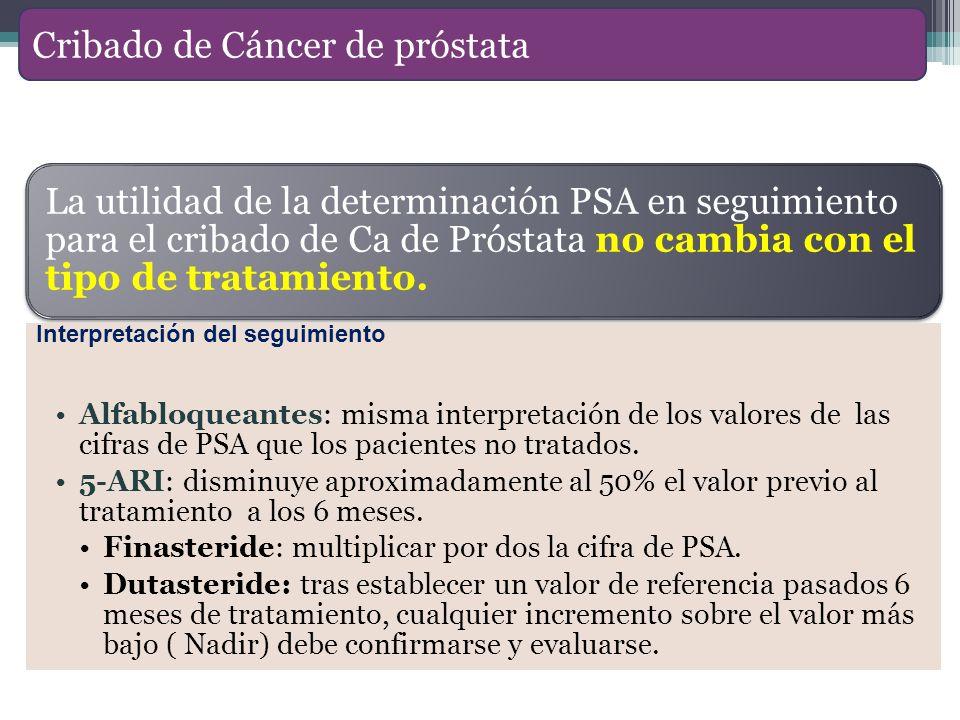La utilidad de la determinación PSA en seguimiento para el cribado de Ca de Próstata no cambia con el tipo de tratamiento. Alfabloqueantes: misma inte