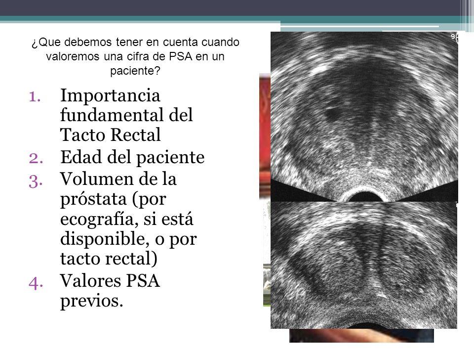 1.Importancia fundamental del Tacto Rectal 2.Edad del paciente 3.Volumen de la próstata (por ecografía, si está disponible, o por tacto rectal) 4.Valo