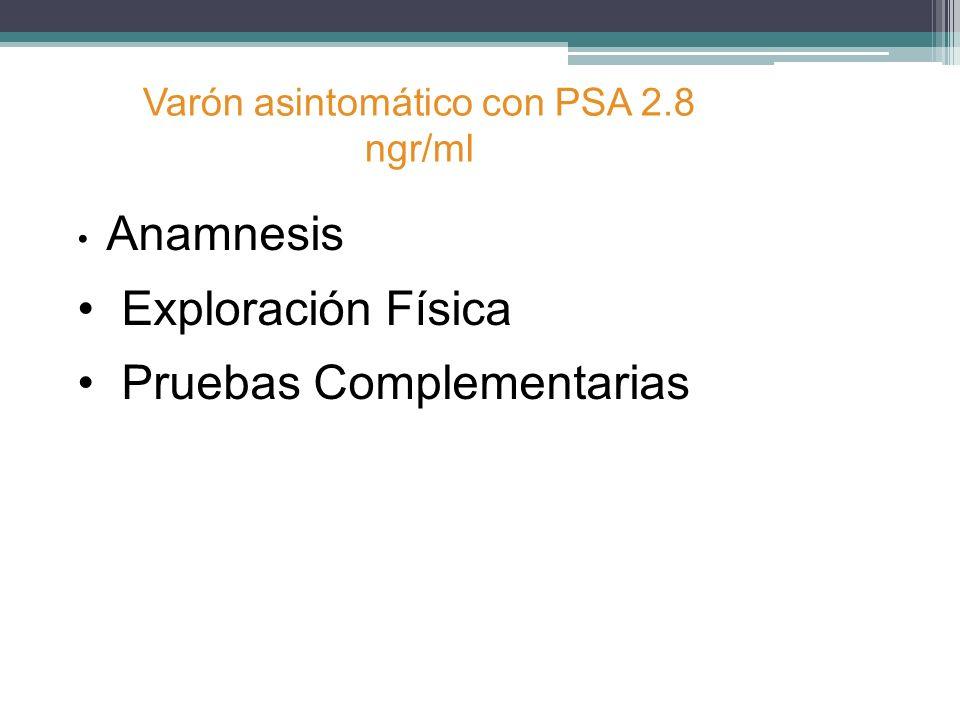 Anamnesis Exploración Física Pruebas Complementarias Varón asintomático con PSA 2.8 ngr/ml