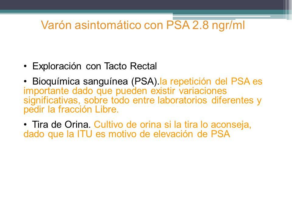 Exploración con Tacto Rectal Bioquímica sanguínea (PSA).la repetición del PSA es importante dado que pueden existir variaciones significativas, sobre