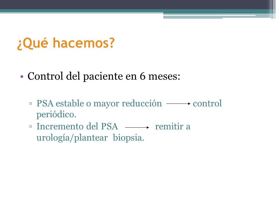 ¿Qué hacemos? Control del paciente en 6 meses: PSA estable o mayor reducción control periódico. Incremento del PSA remitir a urología/plantear biopsia