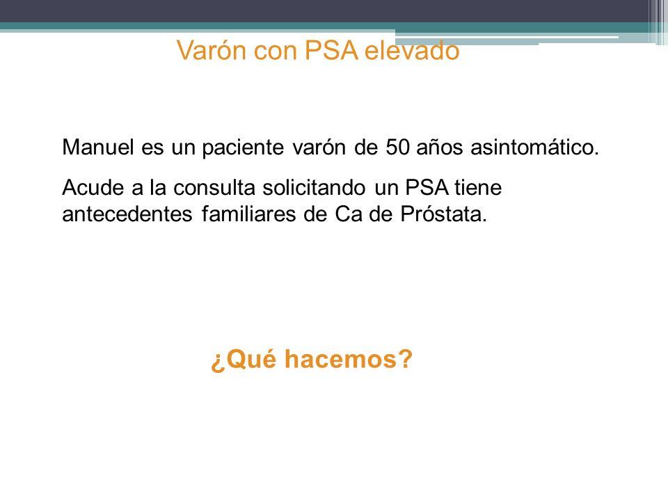 Manuel es un paciente varón de 50 años asintomático. Acude a la consulta solicitando un PSA tiene antecedentes familiares de Ca de Próstata. Varón con