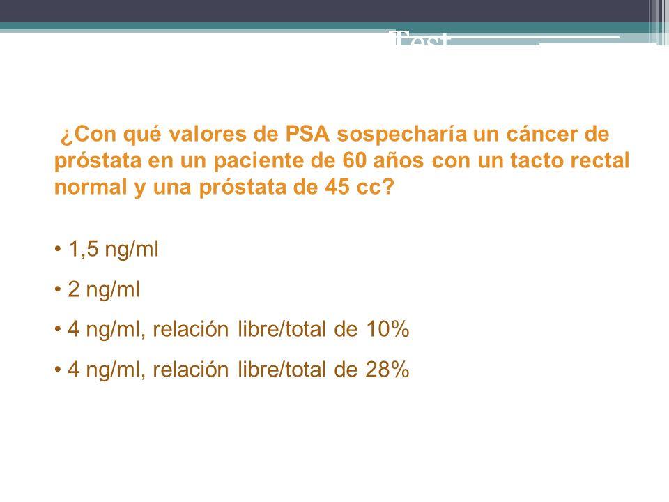 ¿Con qué valores de PSA sospecharía un cáncer de próstata en un paciente de 60 años con un tacto rectal normal y una próstata de 45 cc? 1,5 ng/ml 2 ng