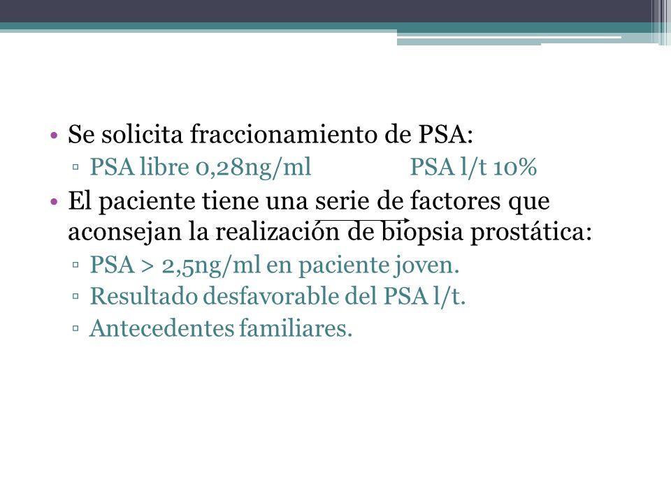 Se solicita fraccionamiento de PSA: PSA libre 0,28ng/ml PSA l/t 10% El paciente tiene una serie de factores que aconsejan la realización de biopsia pr