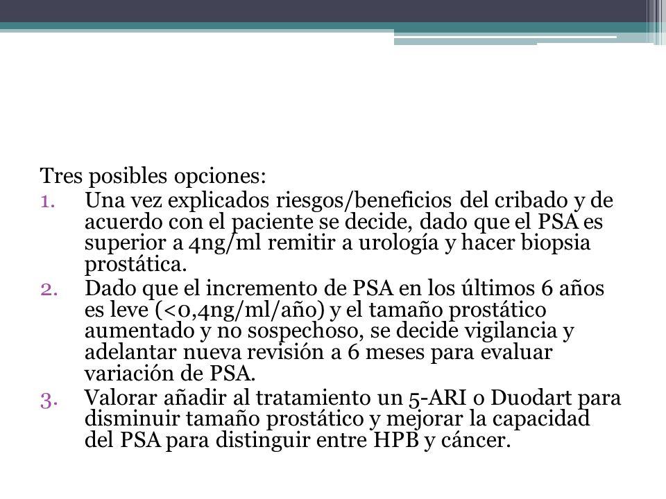Tres posibles opciones: 1.Una vez explicados riesgos/beneficios del cribado y de acuerdo con el paciente se decide, dado que el PSA es superior a 4ng/