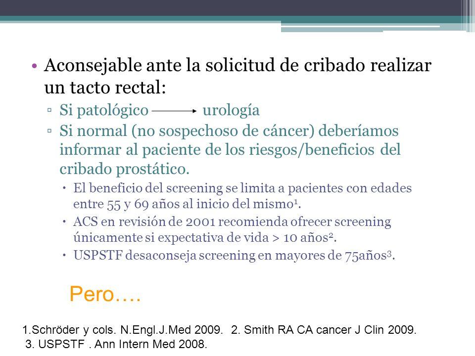 Aconsejable ante la solicitud de cribado realizar un tacto rectal: Si patológico urología Si normal (no sospechoso de cáncer) deberíamos informar al p