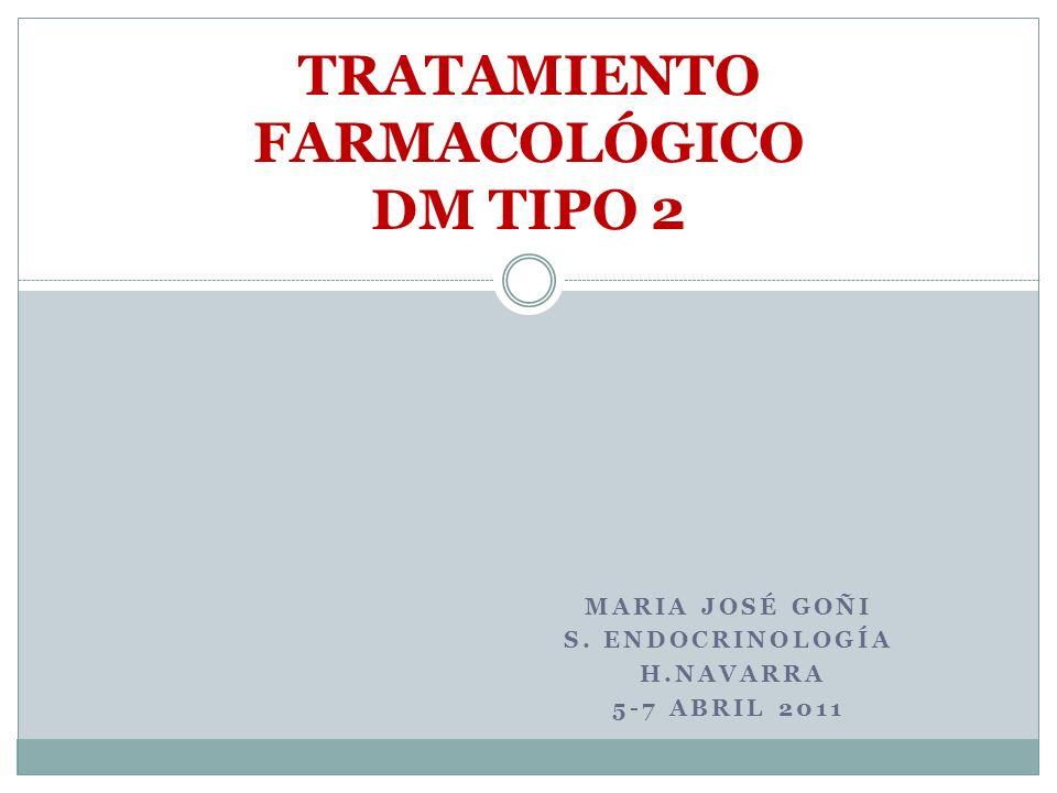 MARIA JOSÉ GOÑI S. ENDOCRINOLOGÍA H.NAVARRA 5-7 ABRIL 2011 TRATAMIENTO FARMACOLÓGICO DM TIPO 2
